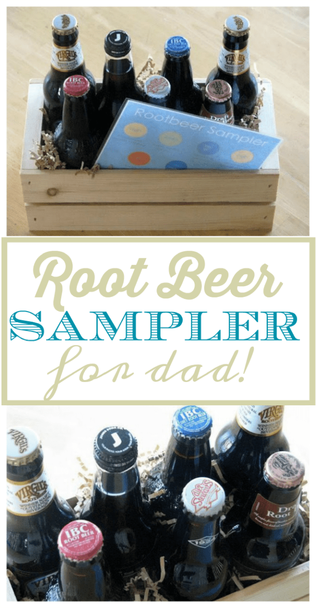 An easy DIY root beer gift idea for Dad! A small crate filled with an assortment of root beer bottles! Can be swapped out for other varieties of soda or bottled beverages to try. Don't forget a sampler list with the names and varieties so that he can mark the ones he likes the best!
