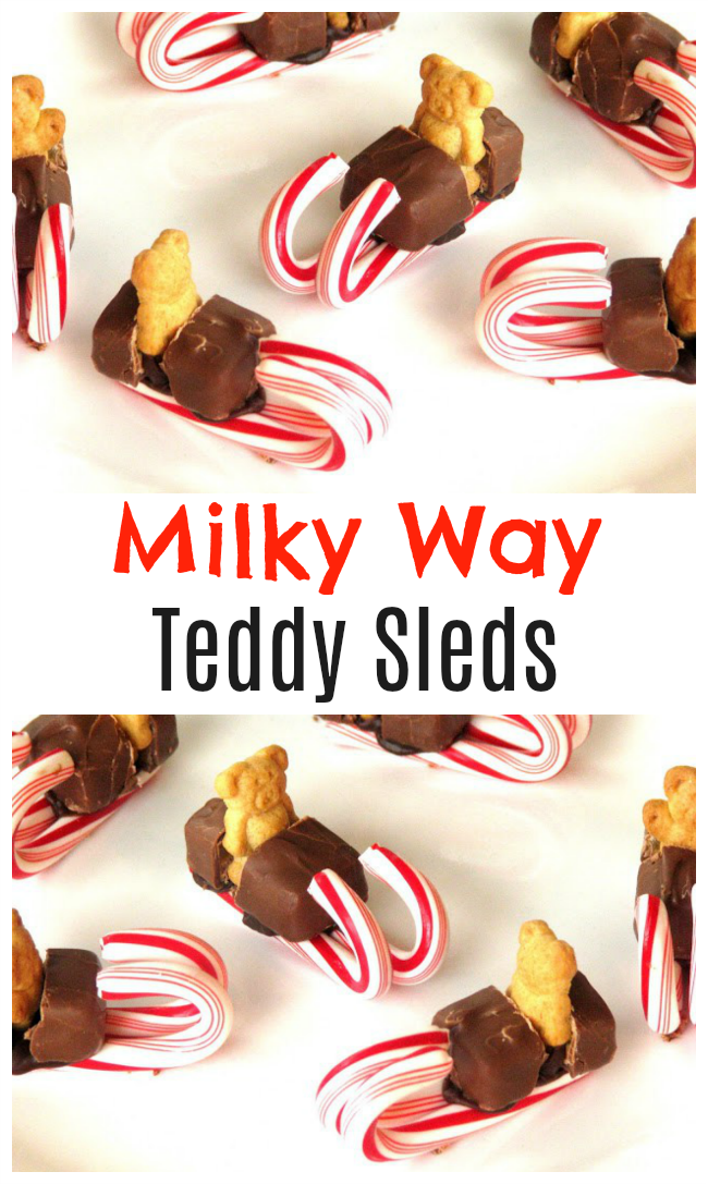 These cute Milky Way Teddy Sleds are perfect forclass party treats at school and are easy to make! Make a batch to share at school or let the kids make their own!