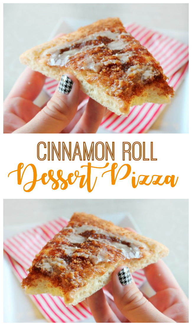Cinnamon roll dessert pizza! Delicious sweet dough topped with butter and a gooey brown sugar and cinnamon topping. Then finished off with a vanilla glaze.