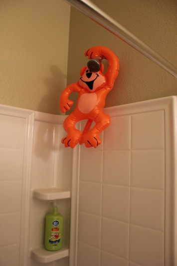 Phineas and Ferb Bucket List inflatable monkey in shower