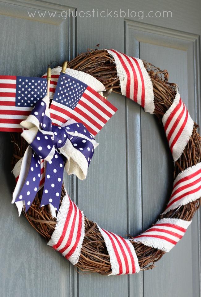 Old Glory Patriotic Wreath hanging on door