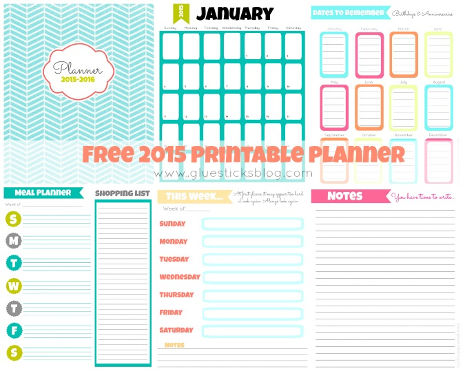 Meal planning pages, shopping lists, note pages, dates to remember and a week at a glance---you'll find all of these FREE printable planner pages to keep you organized this year!