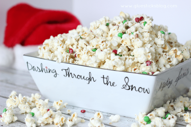 Sweet, salty, and crunchy. Santa's white chocolate popcorn is absolutely the perfect treat to leave out on Christmas Eve!