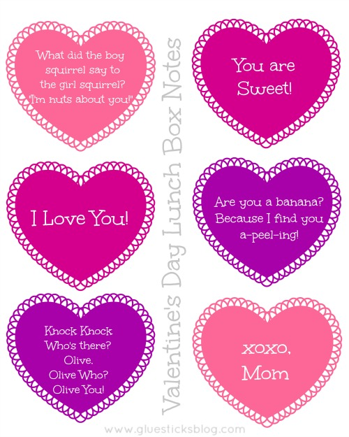 printable valentine's day lunch box jokes & coupons | gluesticks, Ideas