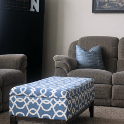 Diy Sofa Reupholstering Blue White Striped Bed How To Reupholster A Storage Ottoman | Gluesticks