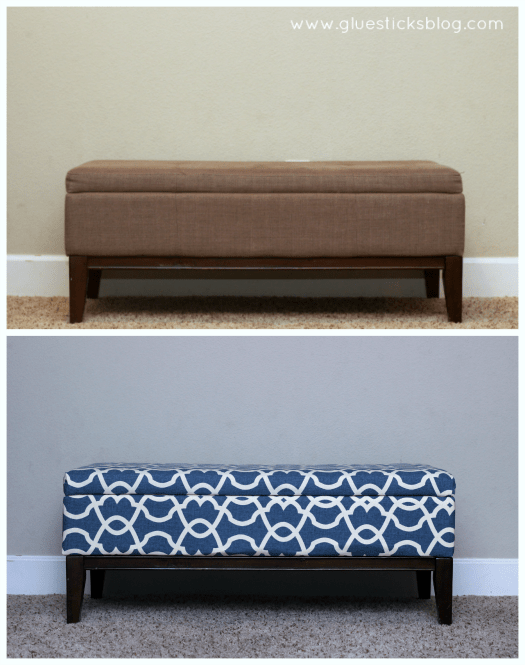 before and after ottoman reupholstering