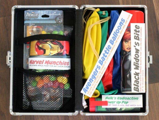 Avengers Super Hero Survival Kit with skittles, balloons, push pop and silly string