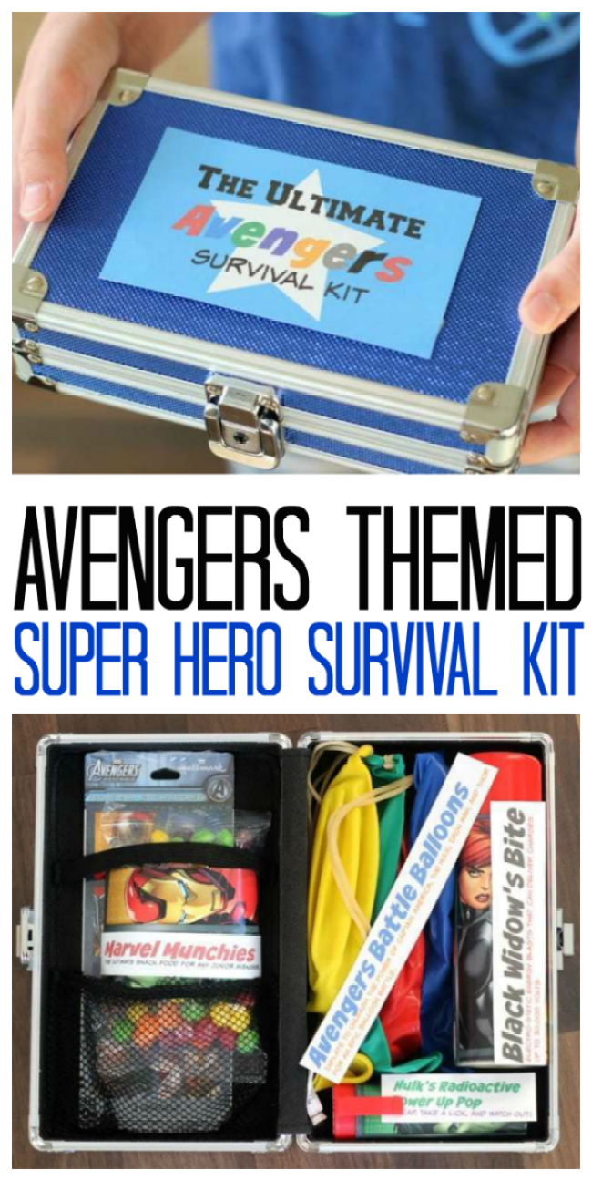 Create the ultimate super hero survival kit for an Avengers fan in your life! Everything is stored in a fun lock box with keys for safe keeping!