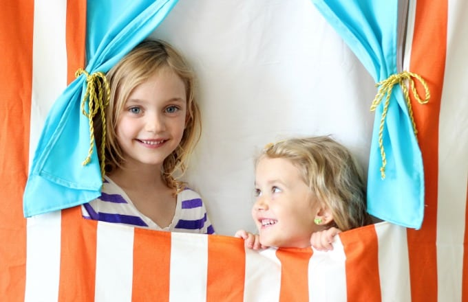 This doorway puppet theater is made to hang with a tension rod!It also folds up for easy storage and provides hours of imaginative play! Let the show begin!
