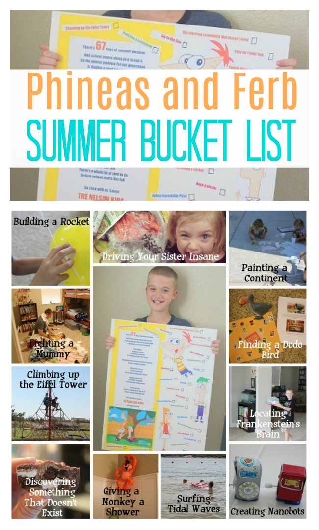 Make your summer a bit more memorable this year with a Phineas and Ferb summer bucket list! Build a rocket, fight a mummy and give a monkey a shower!