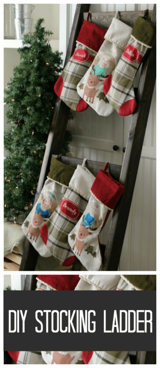 No mantel? No problem! This beautiful stocking ladder is perfect for hanging stockings with rustic charm. When Christmas is over you can use it to display quilts!