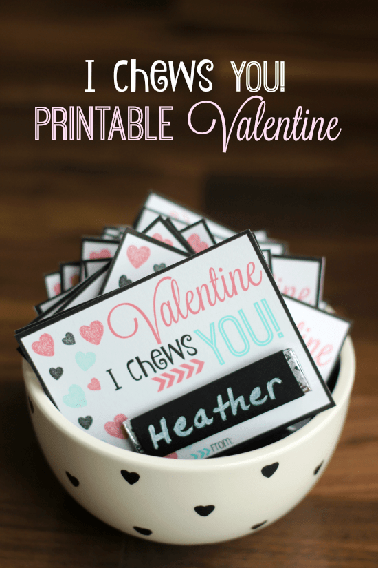I Chews You Printable Valentine by Gluesticks