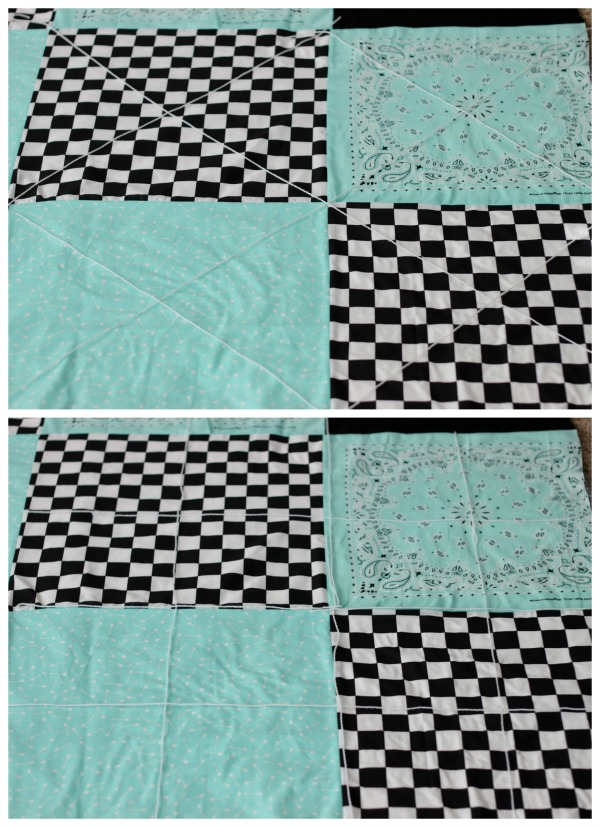Make a picnic blanket out of bandannas! So easy and quick and perfect for picnics, the beach, or keeping cozy on a cold day! To simplify it even more, tie the blanket instead of quilting it! This is a great sewing project for beginners.