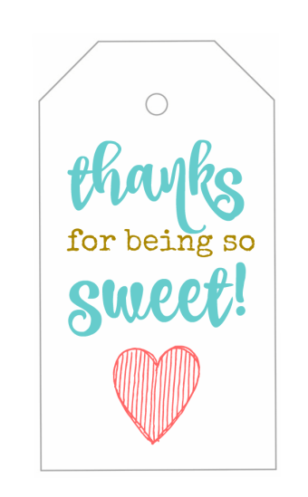 """These """"Thanks for Being so Sweet!"""" printable gift tags are the perfect addition to any 'Thank You' gift! Add one to a jar of candies, a bag of cookies, or a box of chocolates! An easy idea for Mother's Day, Teacher Appreciation, or as a thank you gift for a baby or bridal shower!"""