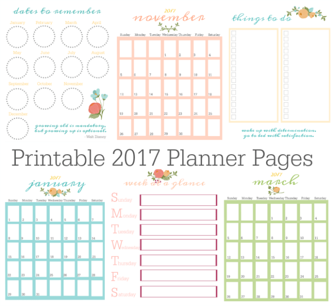 2017 Printable Planner Pages