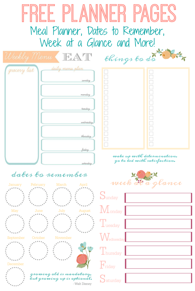 It's just a photo of Universal Planner Pages Printable