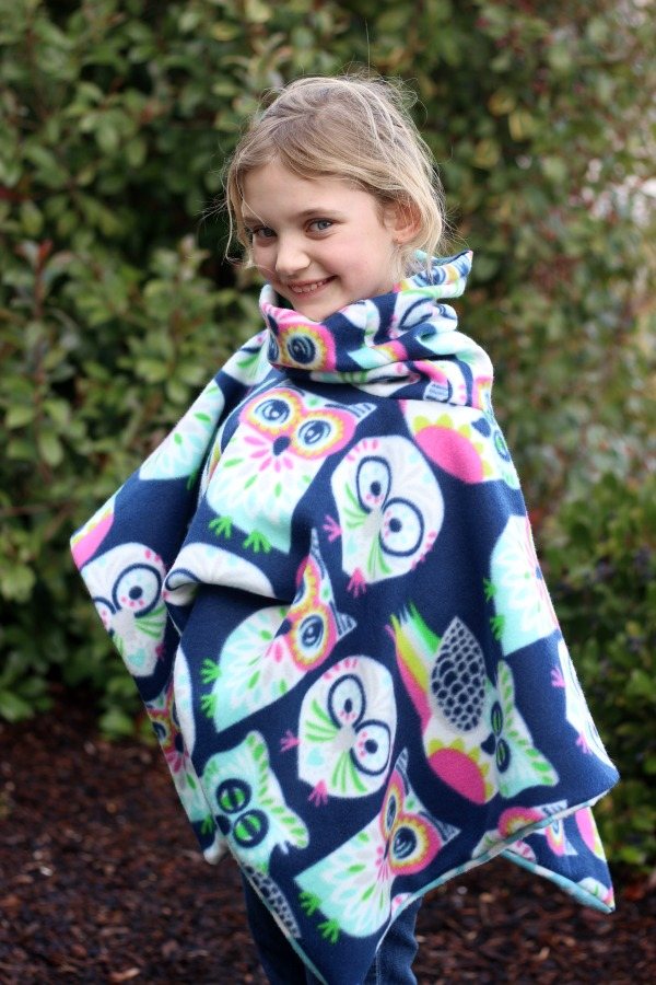 30-Minute Cowl Neck Fleece Poncho Tutorial - Gluesticks