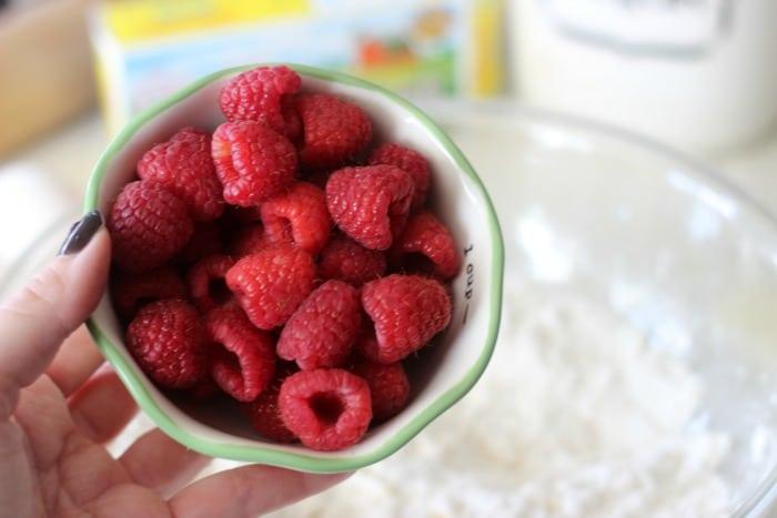bowl of fresh raspberries for scones