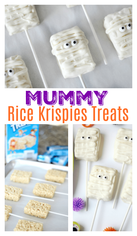 If cake pops intimidate you, don't fret! Rice Krispies pops are SO much quicker and easier and you can customize them a million ways. These mummy pops take about 10 minutes to make start to finish and are perfect for packaging up in Halloween treat bags!