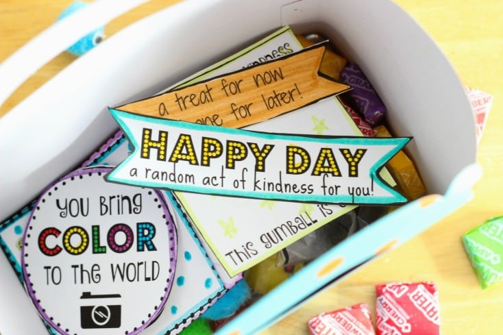 Random Acts of Kindness Day is February 17th. Print out a week of cute tags to color and hand out to brighten someone's day! Tuck everything inside of a box for a Random Acts of Kindness Kit. A fun activity for Girl Scouts, Activity Days, school and more!