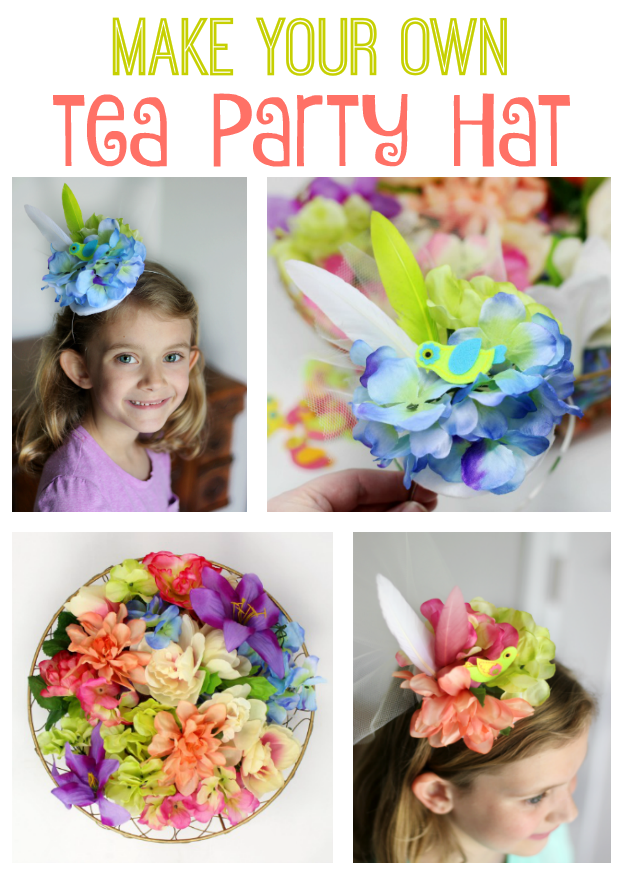 Make your own tea party hat to wear while sipping tea or pink lemonade with your friends! These little tea party hats are so simple, feminine, and sweet. They are the perfect activity to make with friends at birthday parties or sleepovers too!