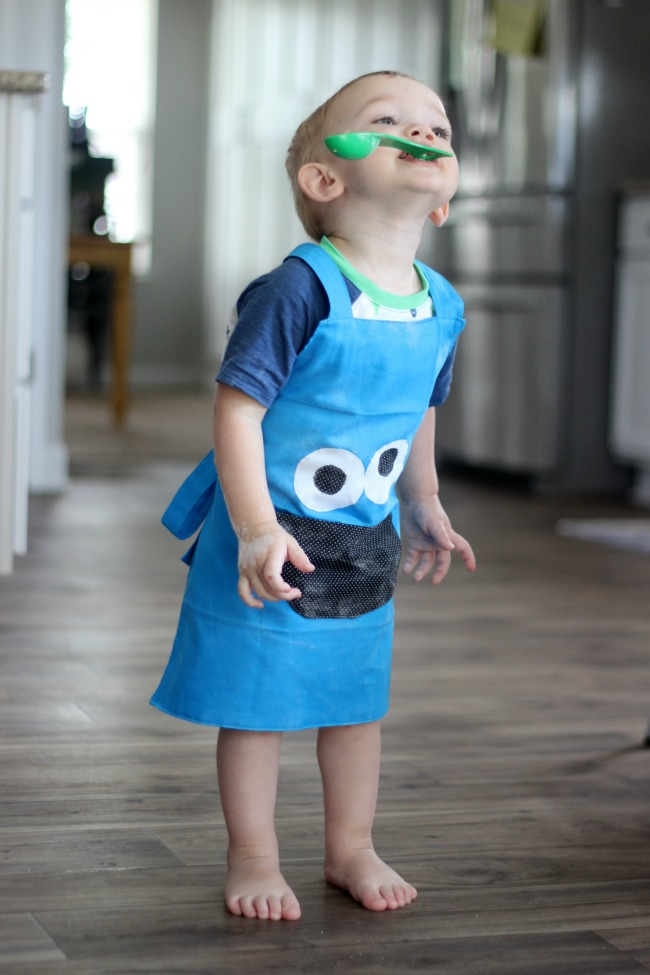 cookie monster toddler apron finished