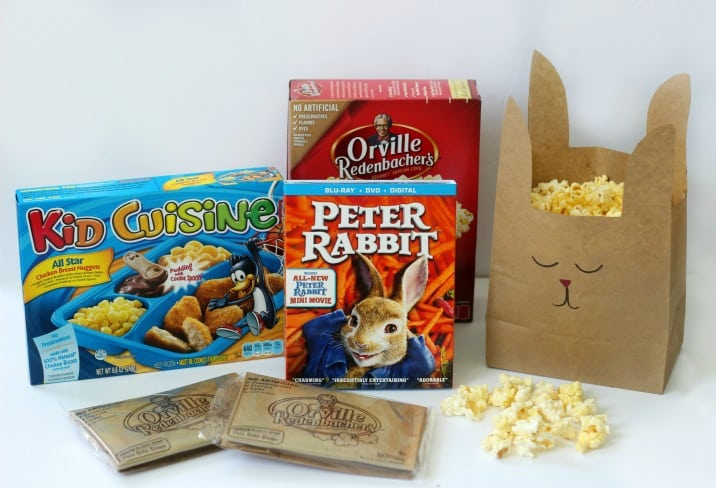 Turn a brown paper bag into a Peter Rabbit popcorn bag (or treat bag!) with just a few snips of the scissors. A quick and easy way to make movie night even more fun!