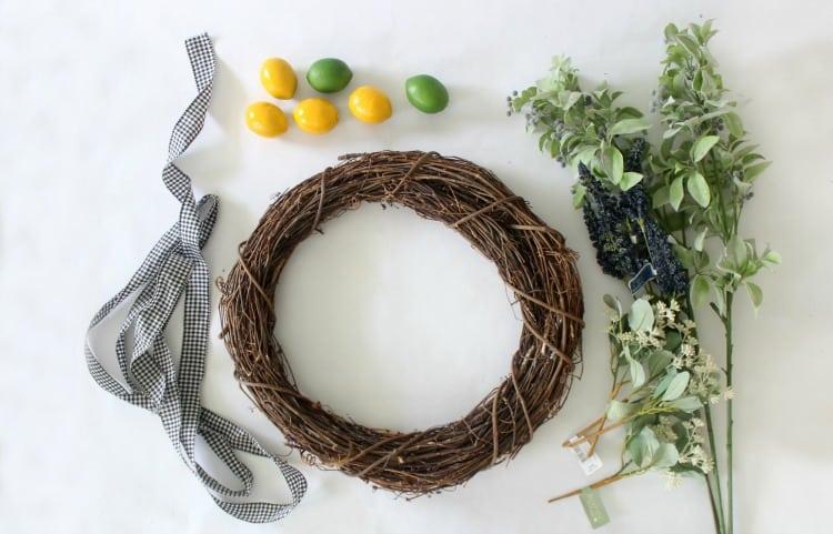 easy citrus wreath supplies