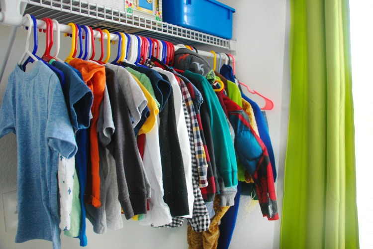clothing storage in toddler bedroom hanging in closet