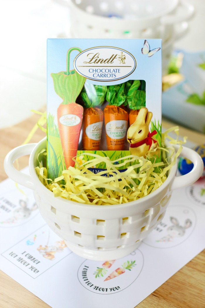 chocolate candies in easter basket with easter grass