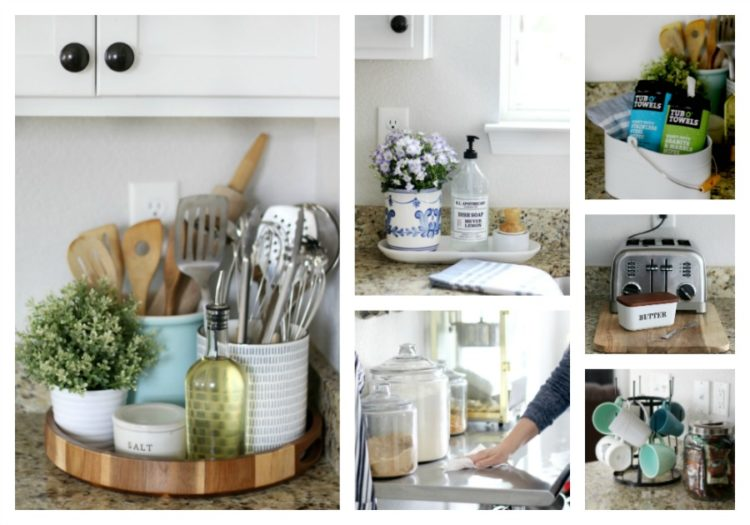 How to style and clean kitchen countertops in any home. Whether your kitchen is big or small, here are 5 stylish and functional countertop displays and tips for cleaning a variety of countertop surfaces!