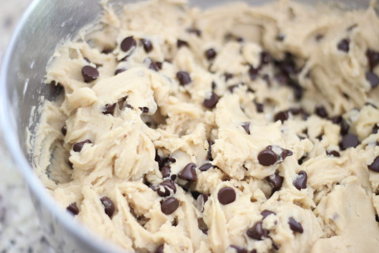 bowl of chocolate chip cookie dough