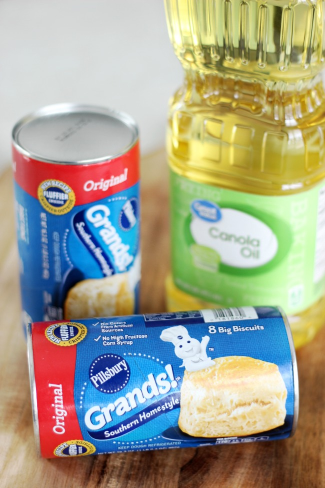 2 cans refrigerated biscuit dough and bottle of canola oil