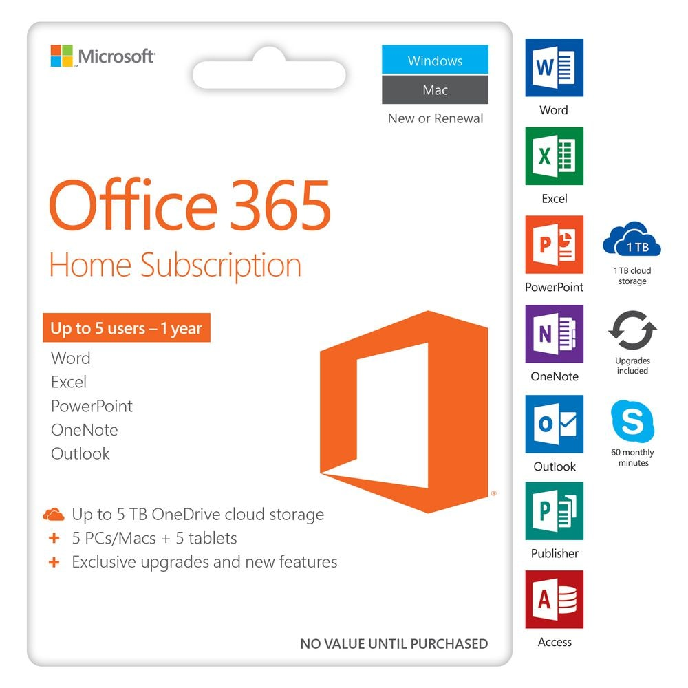 Buy Microsoft Office 365 Home 5 User Esd Licence 1 Year