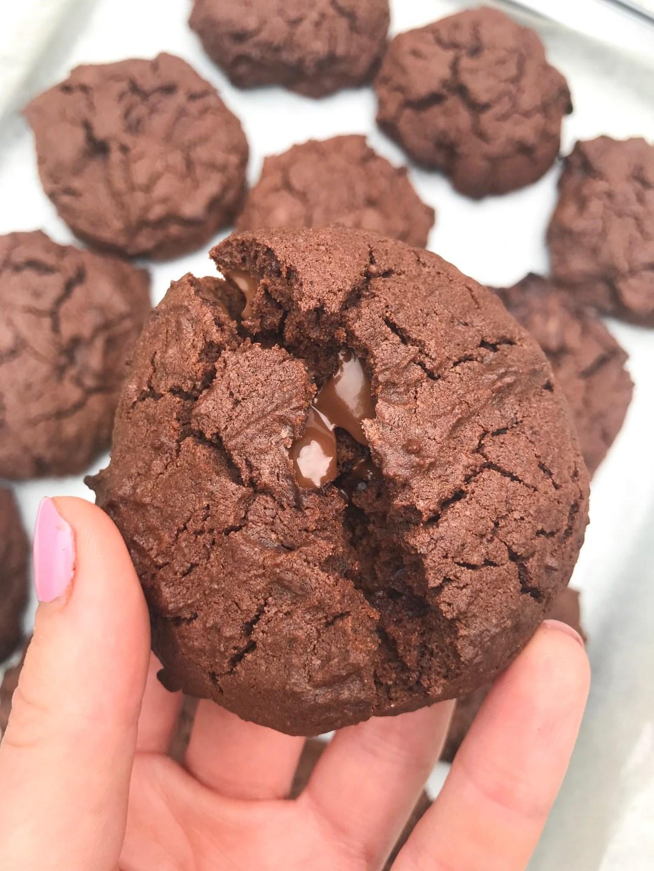 Gooey triple chocolate cookies (GF, DF)