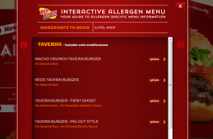 Red Robin, ingredient information