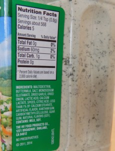US ranch mix, ingredient information