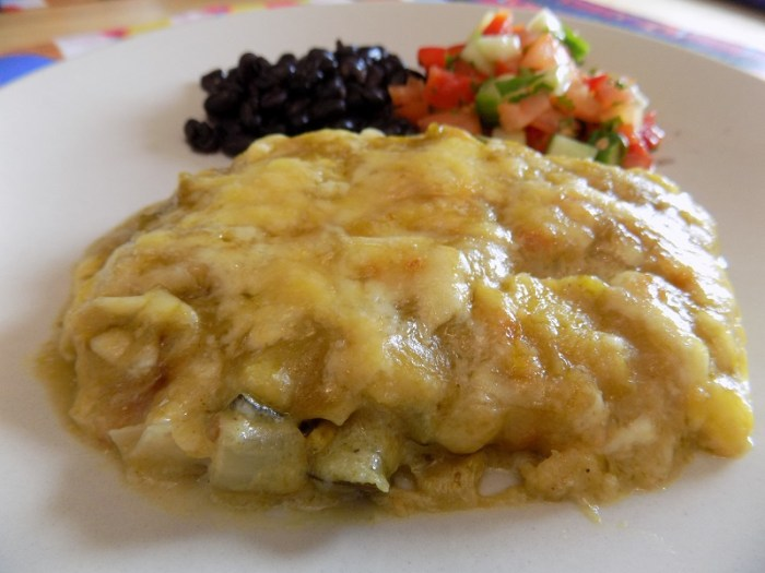 Recipe for gluten free enchiladas. They are vegetarian and made with zucchini.