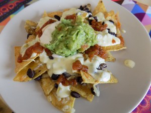 gluten free cheese sauce, finished nachos