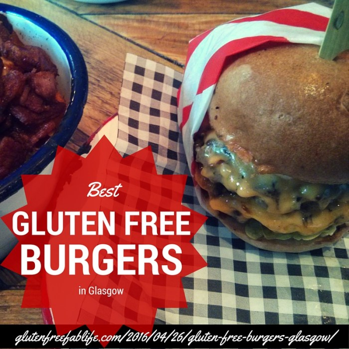 The best options for gluten free burgers in Glasgow. Beef burgers only, must have a gluten free bun or lettuce wrap option to be included!