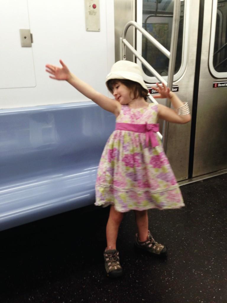 Lu dancing on the subway