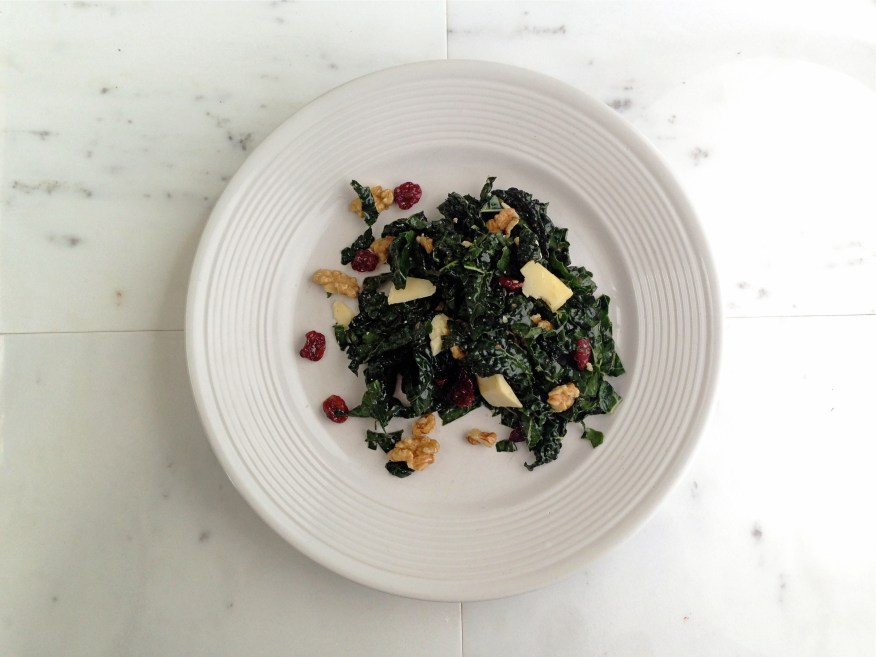 kale salad with cheddar, walnuts, and dried cherries