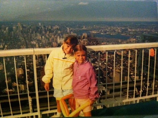 My sister and I on top of the World Trade Center.