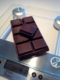 Weighing the chocolate
