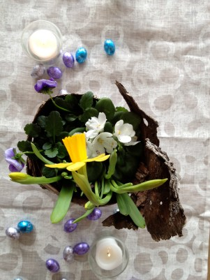 Easter centerpiece from above