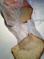 Slices of bread from the freezer to make bread crumbs