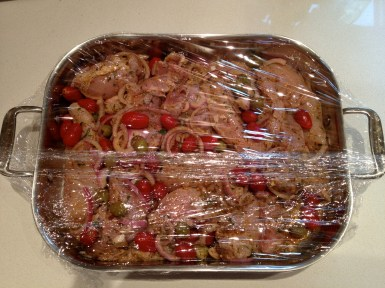 Wrapped to marinate in the refrigerator