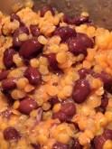 Finished black beans and orange lentils
