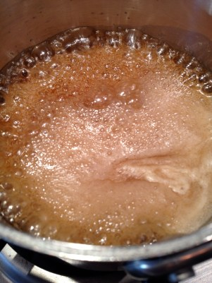 Reducing the syrup and butter for a few minutes