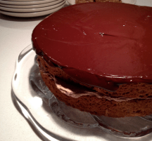 Cake finished with chocolate ganache